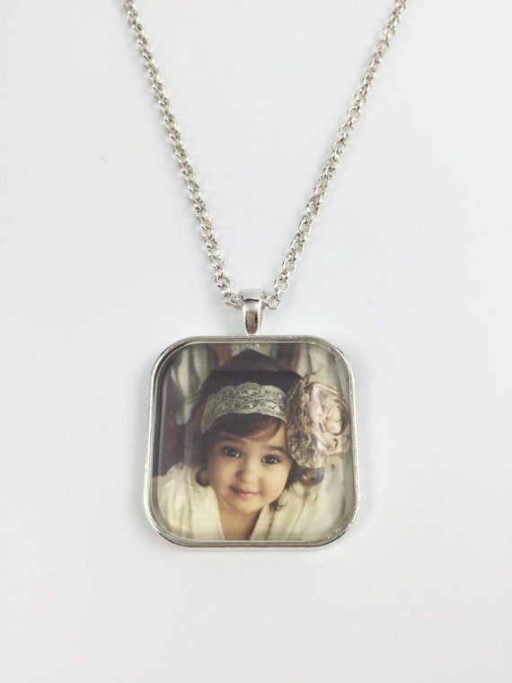 Custom Photo Necklace - Custom Photo Key Chain - Square Cushion Pendant - Your Personal Photo - 4 Finishes Available