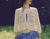Size M/L... Irish Cotton Crochet Cardigan... Hand Knit... Beautiful Hand Work