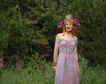 1970s Daydream Believer Eyelet Lace Tie Dye Dress... Amazing OOAK Dress