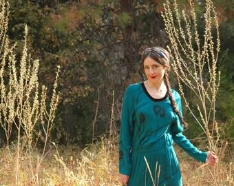 Flowing Bohemian Maxi Dress... Deep Teal... Silky Rayon