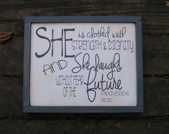 She is clothed with Strength and Dignity , Christian Nursery wall art , Baby girl nursery Bible verse sign , Baby Shower gift nursery sign