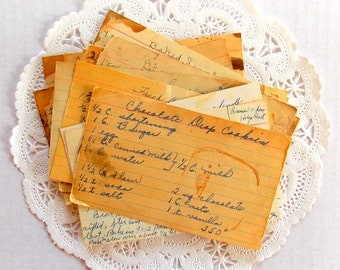 Old Vintage Hand Written Recipes / 15 Pieces / Junk Journal / Old Recipe Cards