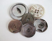 6 Carved Mother of Pearl Large Buttons Silvery Grey