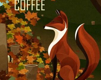 Fox Enjoys Coffee