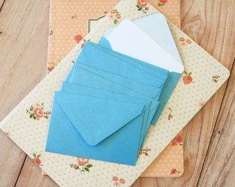 Baby Blue Pearlescent Mini Envelopes & White Note Cards 10pc set