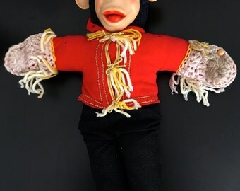Vintage BELLHOP MONKEY Creepy 1950s Organ Grinder Ape Bell Hop Mr. Bim Zip