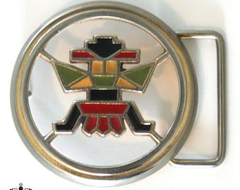 Vintage Navajo Tribal Belt Buckle - Enamel and Brass Kachina