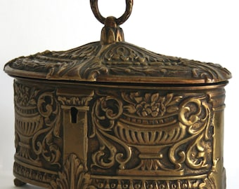 Antique European Cast Brass and Velvet Jewelry Casket with Ornate Classical Design