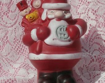 Rubbery Plastic Santa Claus Coin Bank, 1972 Vintage Christmas Club