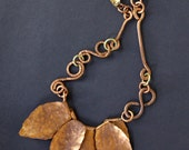 Hammered Copper Leaves Necklace Large Hand Cut Leaves on Ornate Handmade Copper Chain Boho Artisan Jewelry