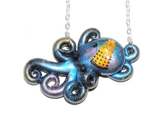 Galaxy octopus with painted Dalek. necklace, opalescent, sparkly, glitter, starry night, outer space, stars, cosmic, doctor who