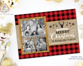 Photo Christmas Card, Buffalo Plaid Photo Card, 3 Photo Holiday Card, Wishing You a Very Merry Christmas, Gold Faux Glitter, Deer Holiday