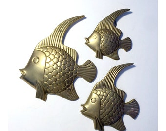 Brass Fish Set, Vintage Brass Fish, Brass Fish Wall Decor, Brass Fish Wall Hangings, Three Brass Fish, Brass Tropical Fish, Fish Home Decor