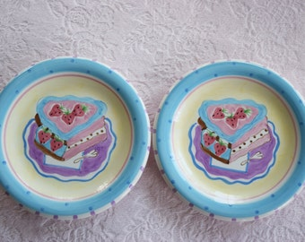 Pair 2 Aqua Blue Turquoise Dessert Salad Cake PLATE Faux Fake Food Wall Decor Display Kitchen Pink Strawberry Purple Ceramic Napkin Candy