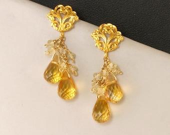 Yellow Citrine Gold Teardrop Earrings, Golden Yellow Gemstone Elegant Post Earrings