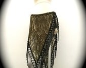 Olive Green Lace Asymmetrical Willow Skirt with Long Black Fringe Trim (Adjustable)
