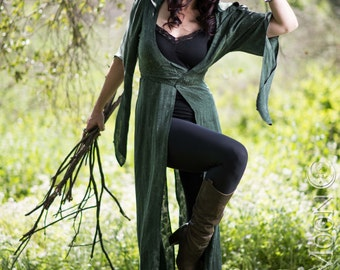 LAST ONE: The Nomad Cloak with Hood in Forest Green w/ vintage crystals by Opal Moon Designs (Size S)