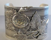 Rose Garden,Cuff,Cuff Bracelet, Bracelet,Cuff Bracelet,Bracelet,Silver,Antique Bracelet,Chunky Bracelet,Gypsy Bracelet.valleygirldesigns.