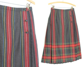 Vintage Plaid Skirt * Pleated Skirt * 80s Wool Skirt * Wrap Kilt * Medium