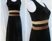 1970s Tank Dress, Disco, Soul Train, Stretch Velour, Stripes, Liss L Sweden Small/Med