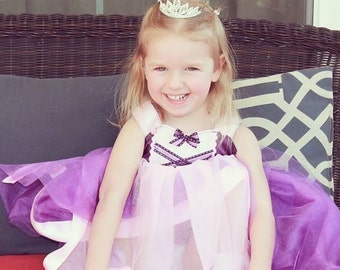 Rapunzel Tutu Dress: Purple sparkle tulle with pink center & straps, Princess dinner party, Halloween Costume, Birthday Party, adjustable