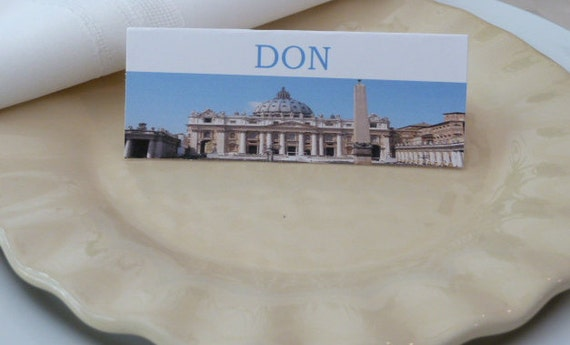 Name Cards/ Place Cards/ Food Tents - Vatican Rome Italy - Set of 6- Italian Dinner Table Decor