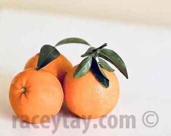 Tangerines, Kitchen Art Print, Orange, White, Food Photography, Large Wall Art, Oranges, Fruit Photo, Food Prints
