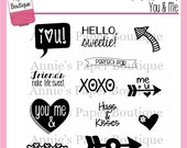 Planner Stamps - You & Me - Annie's Paper Boutique - for Your Filofax, Happy Planner - Clear, Valentine's Day, Love