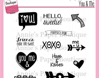 Planner Stamps - You & Me - for Your Filofax, Erin Condren, Happy Planner, Carpe Diem, Travelers Notebook - Valentine's Day, Love, Clear