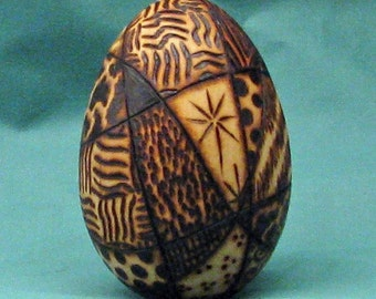 Crazy Quilt  Woodburning Egg