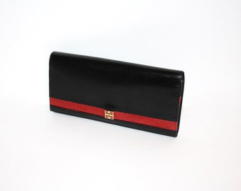 GIVENCHY Vintage Black Leather Large Wallet Coin Clutch - AUTHENTIC -