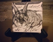 "Original 4"" x 4"" pen and ink crosshatch drawing: 'As Above So Below' (rabbit, bunny, ribbon)"