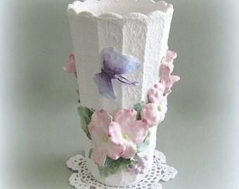 Pink Flower Vase Decor Ceramic Vase Art Vase White Vase Pink Floral Vase Hand Painted Vase Decorative Vase Large Unique Clay Flower Dogwood