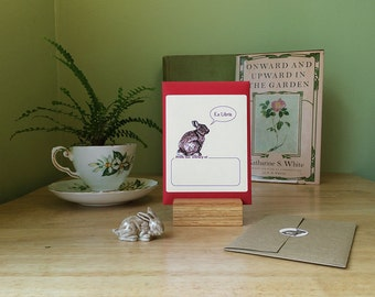 "Bunny book plates. 17 book plate stickers plus envelope. Custom printing option. The Bunny says ""Ex Libris."" What would you have it say?"