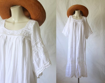 mexican wedding dress /  cotton