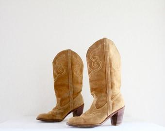 1970's dingo suede cowboy boots / 7