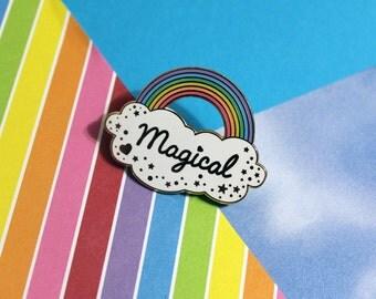 Magical Rainbow Enamel Pin - Hard Enamel Cloud Sparkles