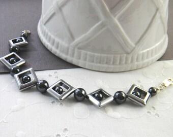 Hematite Bracelet, Charcoal Gray Bracelet, Chrome Hematite Bracelet, Unique Artisan Bracelet, Gemstone Bracelet, Beaded Bracelet