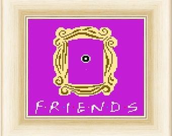 Friends Peephole Frame - Cross Stitch Pattern