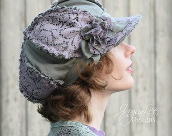 Women's Newsboy Hat Shabby Chic Green Linen and Purple Lace Hat