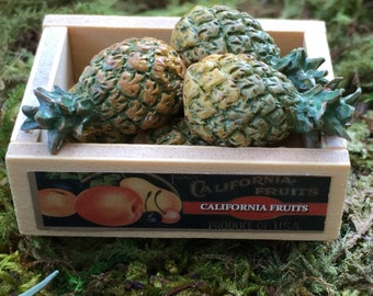 Miniature Wood Fruit Crate With Label, Dollhouse Miniatures, 1:12 Scale, Yard Garden Accessory