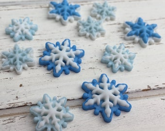 "Blue & White Flat Back Snowflake Embellishment Package by Buttons Galore, ""Brrrr' Style 4796"