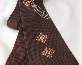 Vintage 1940s  50s Deep Brown Textured Tie with Rust & White Abstract Accents