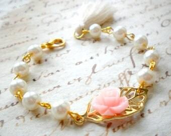 Flower Girl Bracelet Baby Pink Bracelet Gold Leaf Bracelet Children Bracelet Gift For Girls Flower Girl Wedding Jewelry Tassel Bracelet