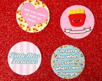 Fun Food Sticker Set, food puns, kawaii paper stickers, cute stationery, pizza sticker, fries sticker, planner accessories, journal stickers