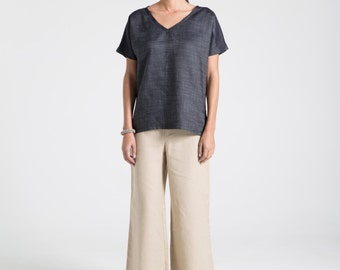 Denim Shirt / Oversize Summer Blouse / Short Sleeve Shirt / T-Shirt / Casual Blouse / marcellamoda - MB689