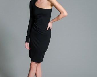 Little Black Dress / Black One Shoulder Dress / Cocktail Dress / LBD / Party Dress / marcellamoda - MD088
