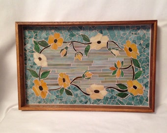 Mosaic serving tray Vines of Black Eyed Susans