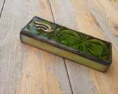 Mezuzah case Green Color Handmade Jewish Home Gitf Stained Glass Design Israel