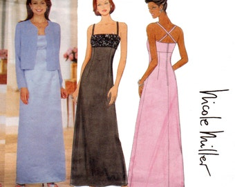 Butterick 6048 NICOLE MILLER 90s Elegant Prom Formal Dress & Jacket Pattern Size 6 8 10 UNCUT Factory Folded
